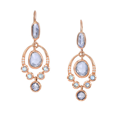 Rose Gold Drop Earrings with Sapphires
