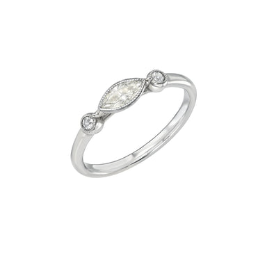White Gold Ring with Marquise Diamond