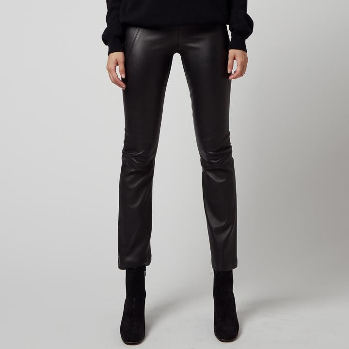 Nita Cropped Flare Leather Pant