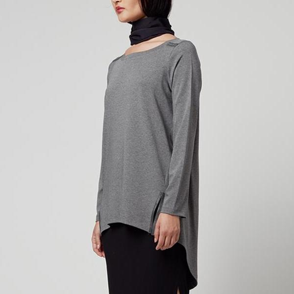 Oliver High-Low Jersey Tunic W/ Leather Trim by Elaine Kim-Top-Elaine Kim-Elaine Kim Studio-travel wardrobe-office casual-independent designer