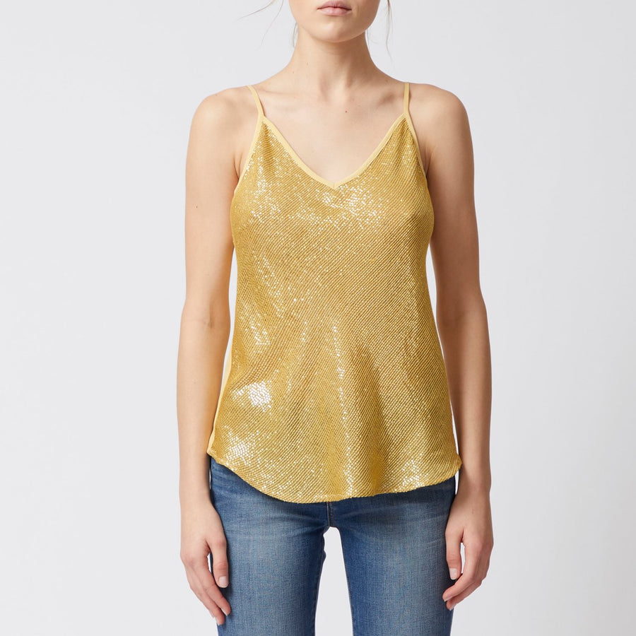 gold bias cut v neck silk camisole with sequin front by Elaine Kim