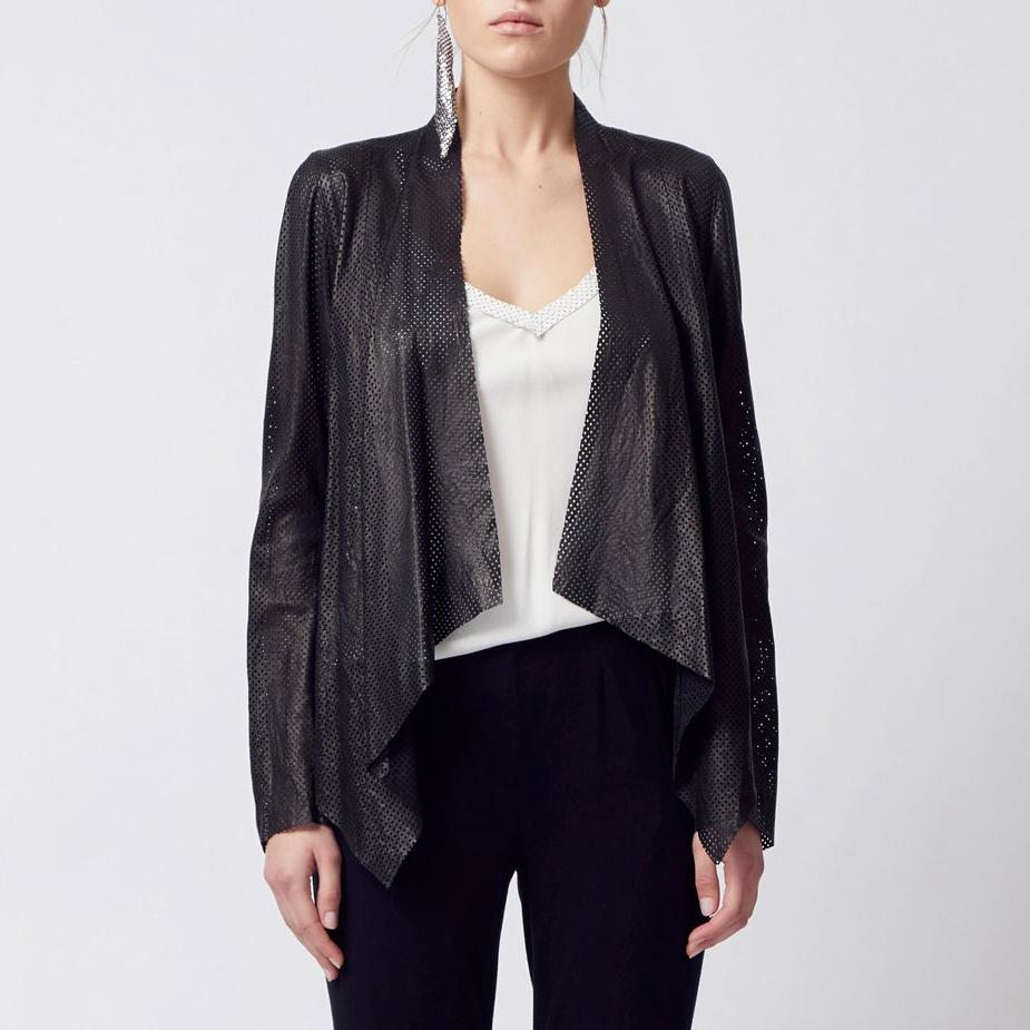 Montgomery Leather Envelope Jacket-Jacket-Elaine Kim-Black Perforated-Elaine Kim Studio