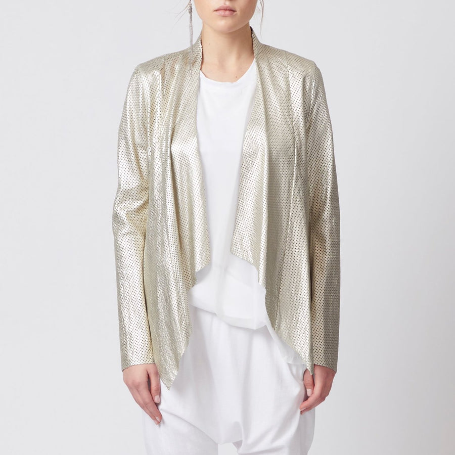 gilt draped envelope front perforated leather jacket by Elaine Kim