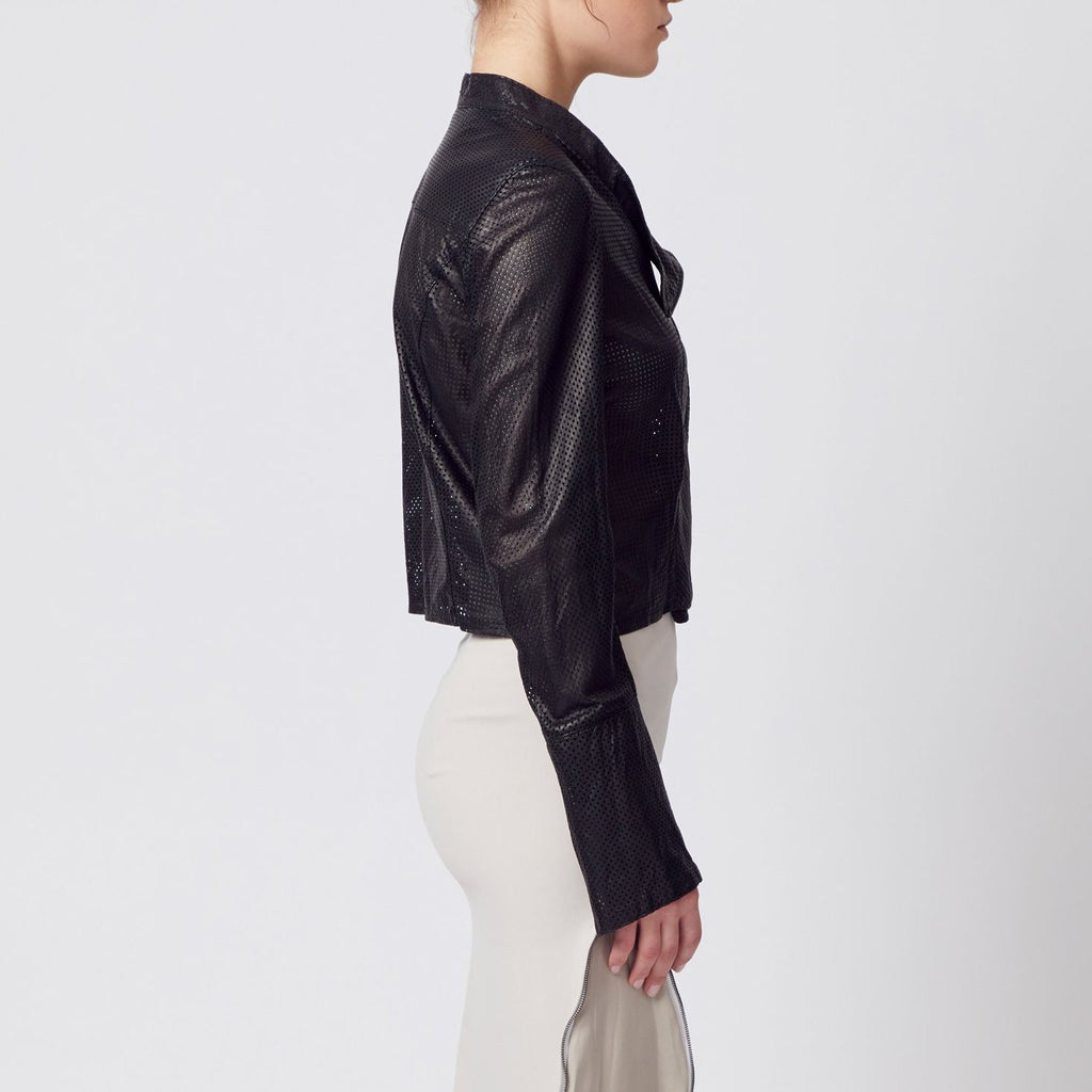 black cropped perforated leather moto jacket with side zip by Elaine Kim