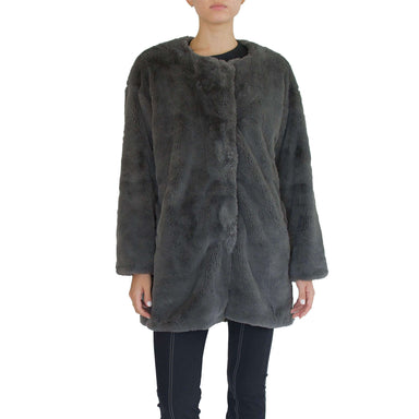 Faux Fur Reversible Crew Neck Coat - SARAI