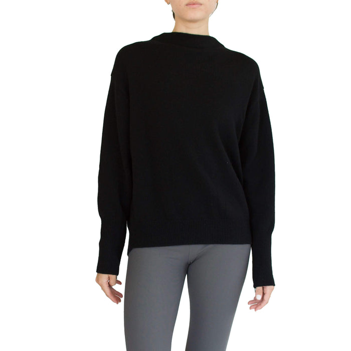 Cashmere Funnel Neck Sweater with Back Zipper Trim - SEATON