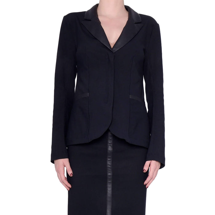 Tech Stretch Blazer with Leather Peak Lapel - SIREN