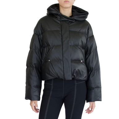 SPARROW Vegan Leather Short Hooded Puffer Jacket