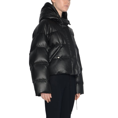 Vegan Leather Short Hooded Puffer Jacket - SPARROW