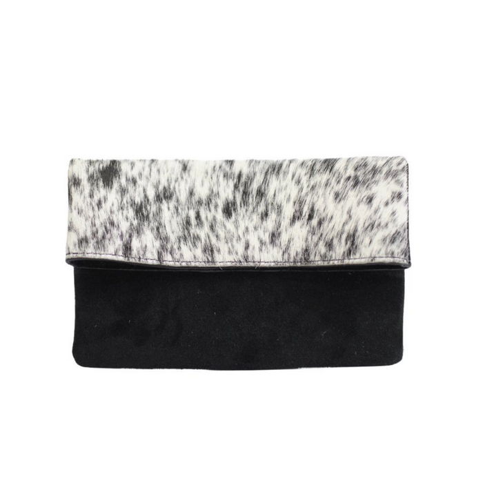 Half Calf and Suede Fold-Over Clutch - SOLIN