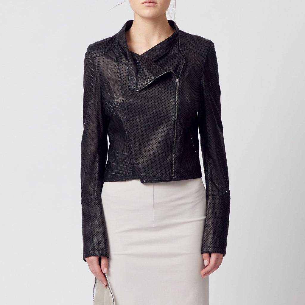 Oasis Leather Moto Jacket-Jacket-Elaine Kim-Black Perforated-Elaine Kim Studio