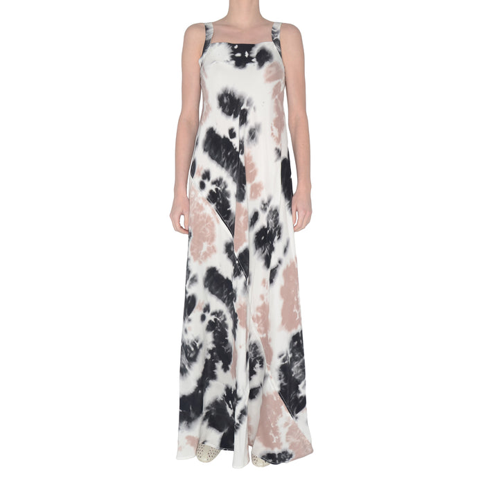 Silk Maxi Dress with Asymmetric Drawstring - SHAY