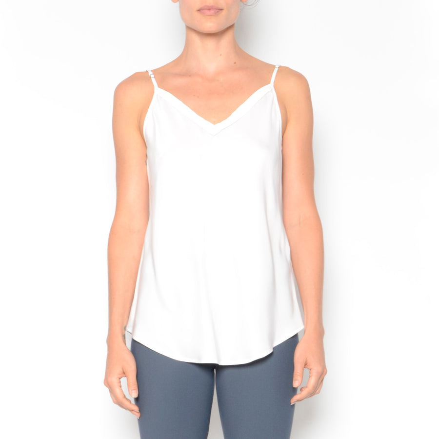 Orietta Silk Camisole w/ Leather Trim-Top-Elaine Kim-White-Elaine Kim Studio