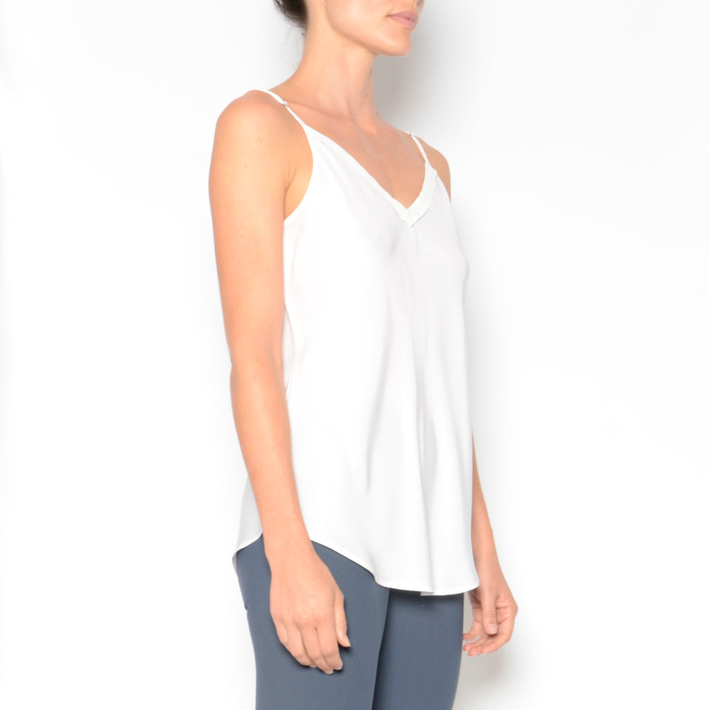 Orietta Silk Camisole w/ Leather Trim-Top-Elaine Kim-Elaine Kim Studio