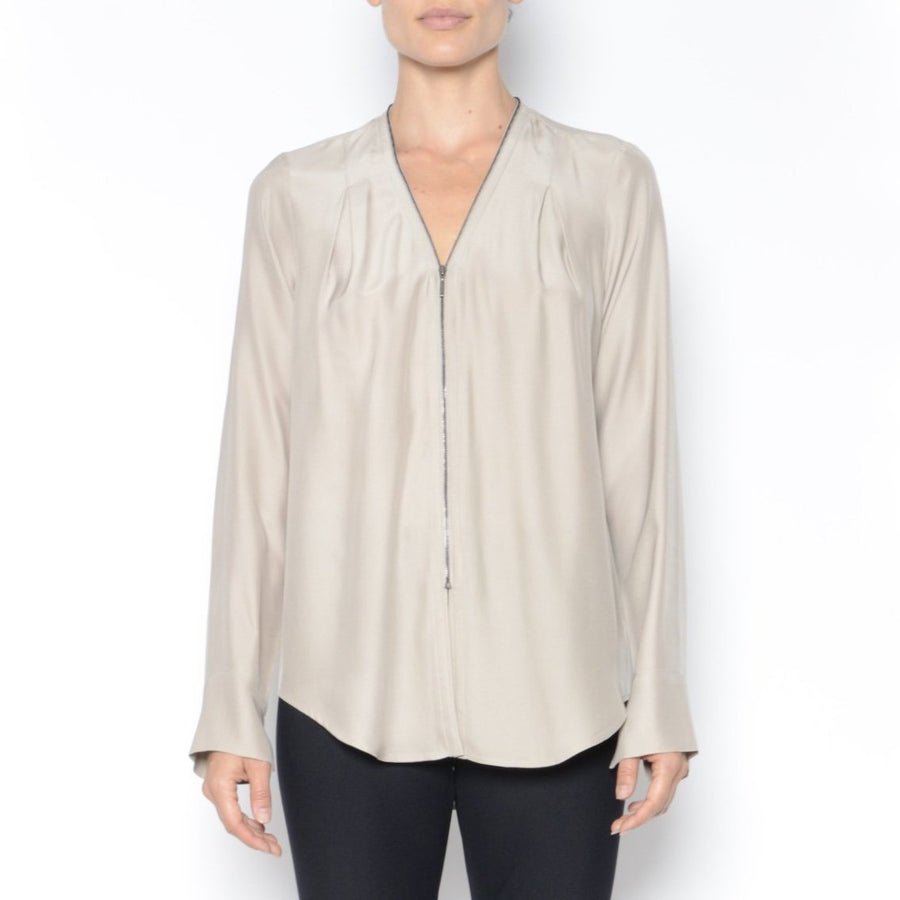 Quorgan Silk Blouse-Top-Elaine Kim-Almond-Elaine Kim Studio