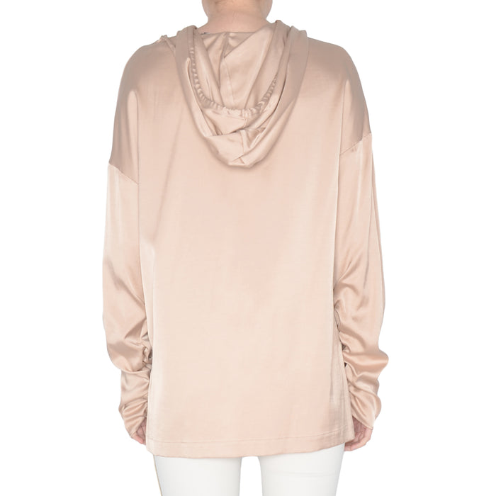Cupro Hoodie Top with Ruched Sleeves Skyler