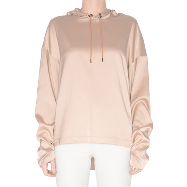 Cupro Hoodie Top with Ruched Sleeves - SKYLER