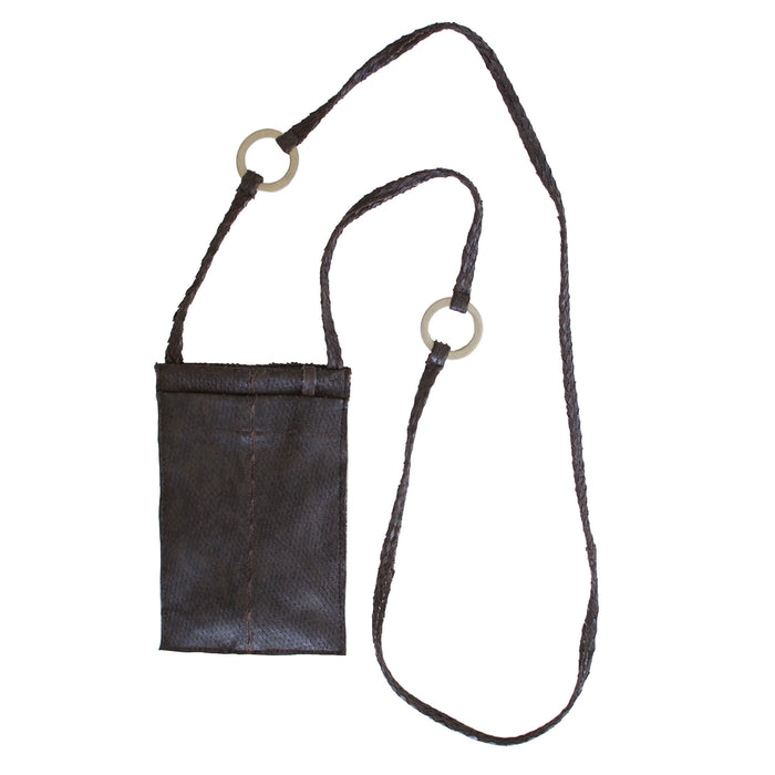 Cell Phone Pouch in Leather with Metal Rings - RIRI