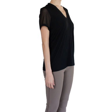 Jersey V Neck Tee with Chiffon Neckline & Sleeve - SHAWN