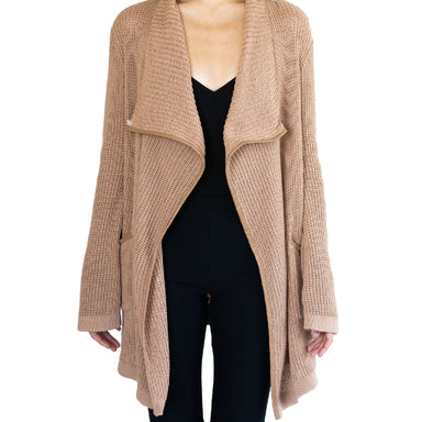 Waffle Cardigan with Leather Trim - SABINE