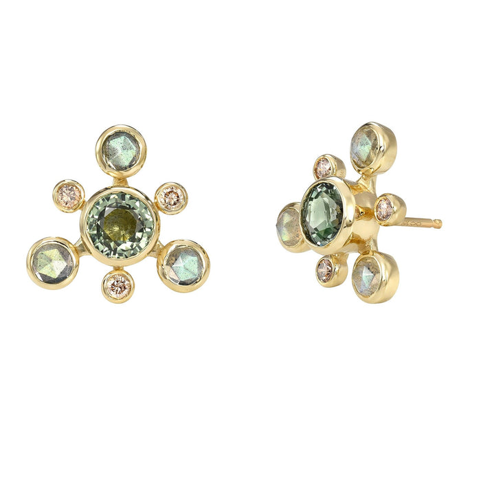 Gold Stud Earrings with Sapphires, Labradorite, and Diamonds