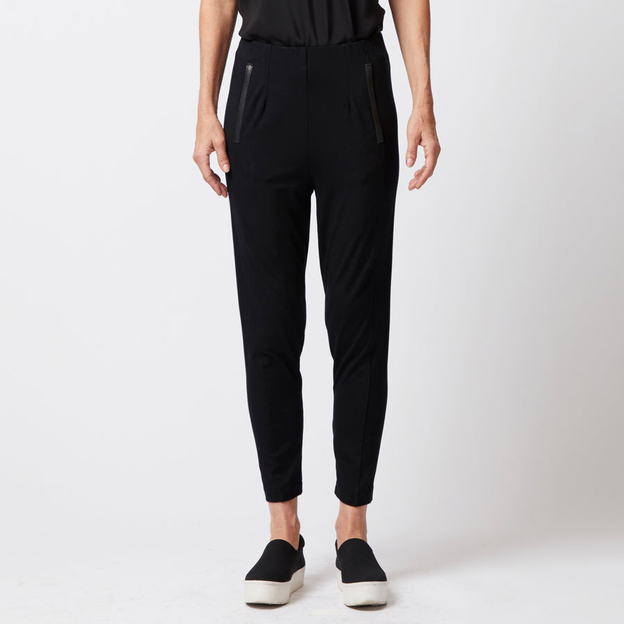 black relaxed fit cropped jersey pants with leather trim pockets by Elaine Kim