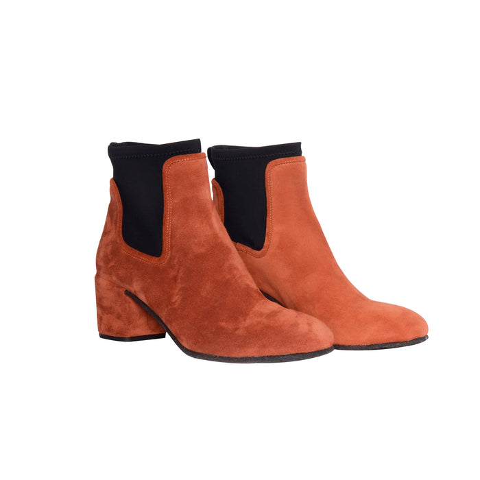 Del Carlo Suede Block Heel Boot with Neoprene Panels