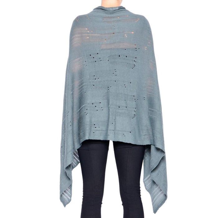 Distressed Zip Scarf Poncho - PANELLUS