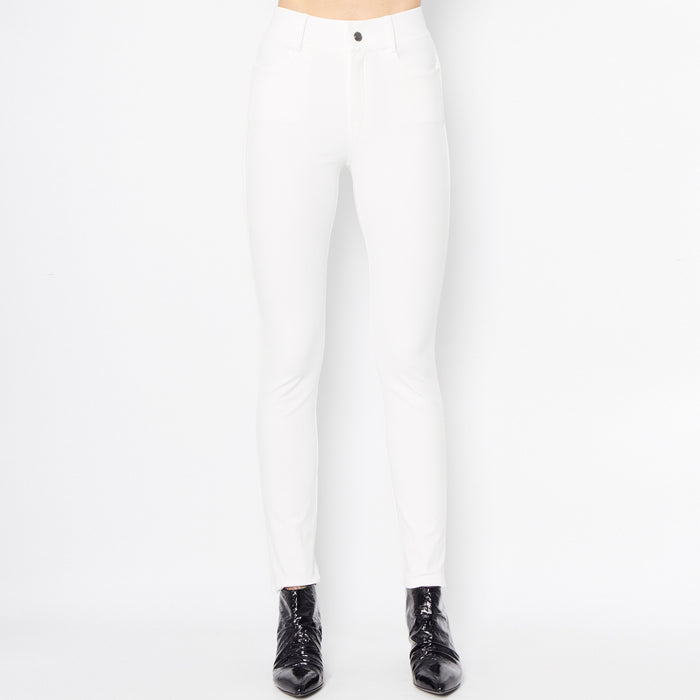 Quinley Tech Stretch Jeans w/ Leather Piping-Pant-Elaine Kim-White-Elaine Kim Studio
