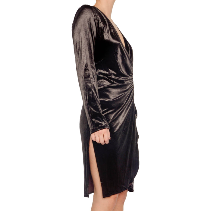 Raquel Velvet Wrap Dress with Zipper