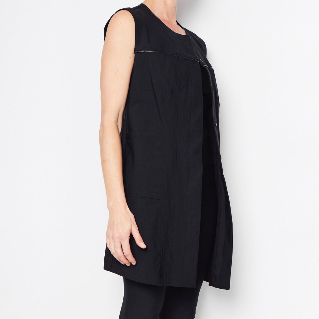 Ray Tech Stretch Long Jean Vest-Vest-Elaine Kim-Elaine Kim Studio