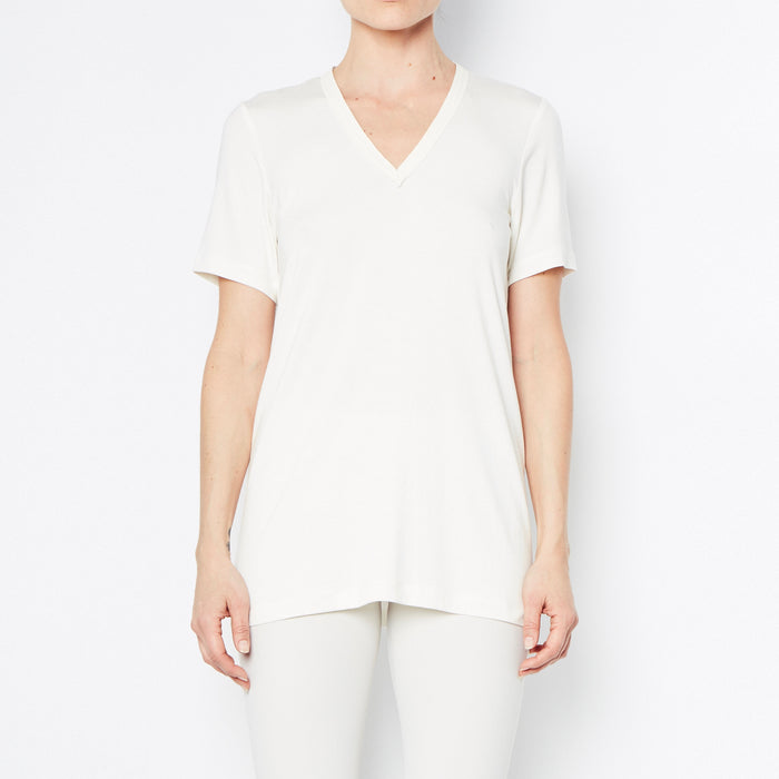 Rayshan Jersey V-Neck T-Shirt with Leather Neckline Trim-Top-Elaine Kim-Elaine Kim Studio-travel wardrobe-office casual-independent designer