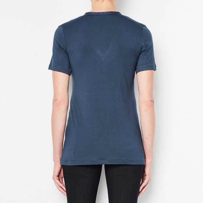 Rayshan Jersey V-Neck T-Shirt with Leather Neckline Trim