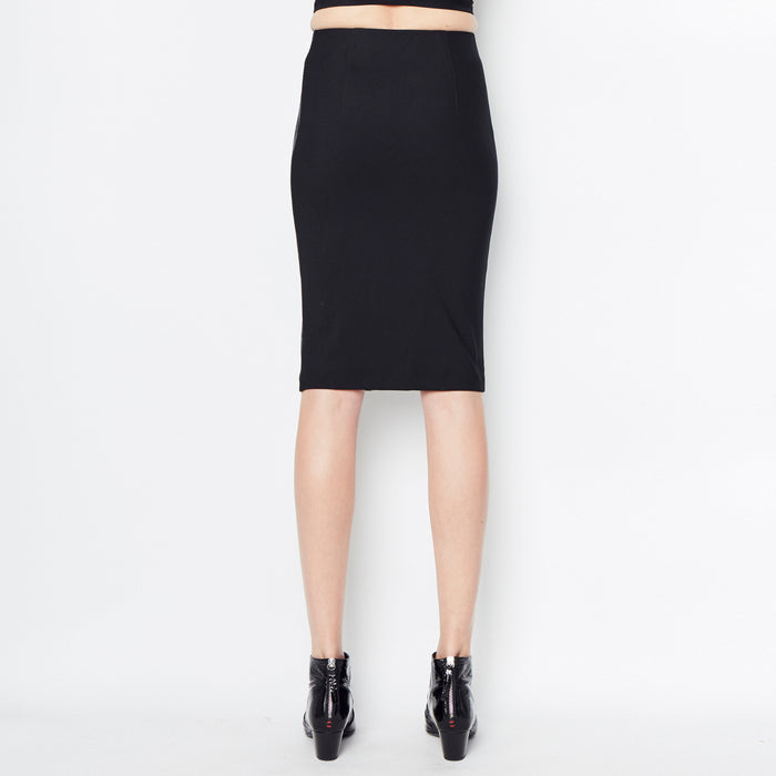 Reed Leather and Tech Stretch Pencil Skirt