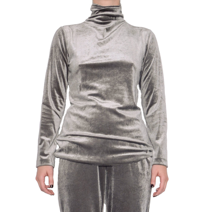 Reva Velvet Turtleneck Top - Silver / S