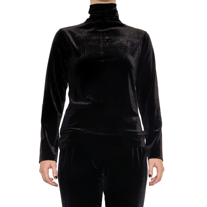 Reva Velvet Turtleneck Top - Black / S