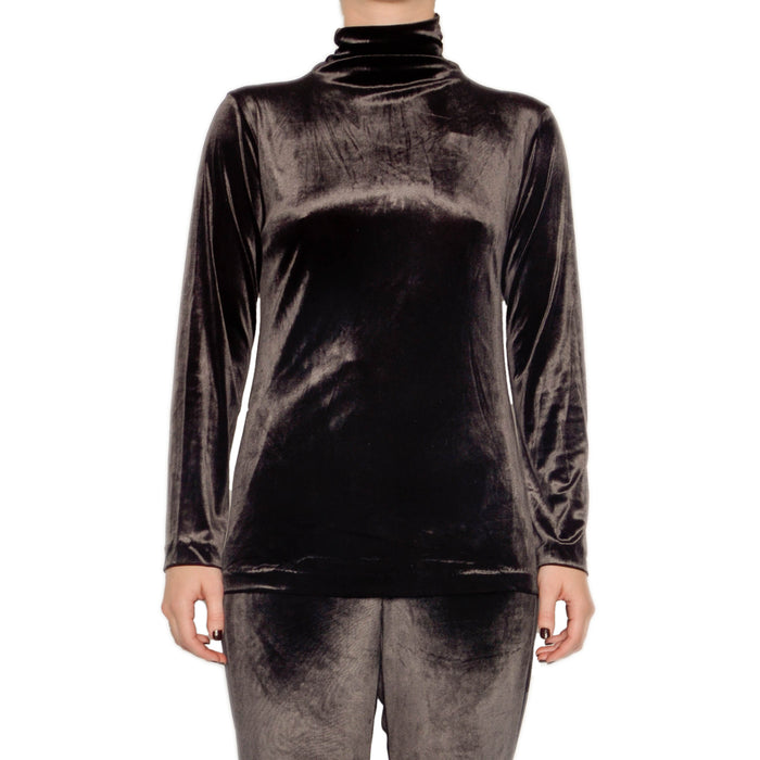 Reva Velvet Turtleneck Top - Java / S