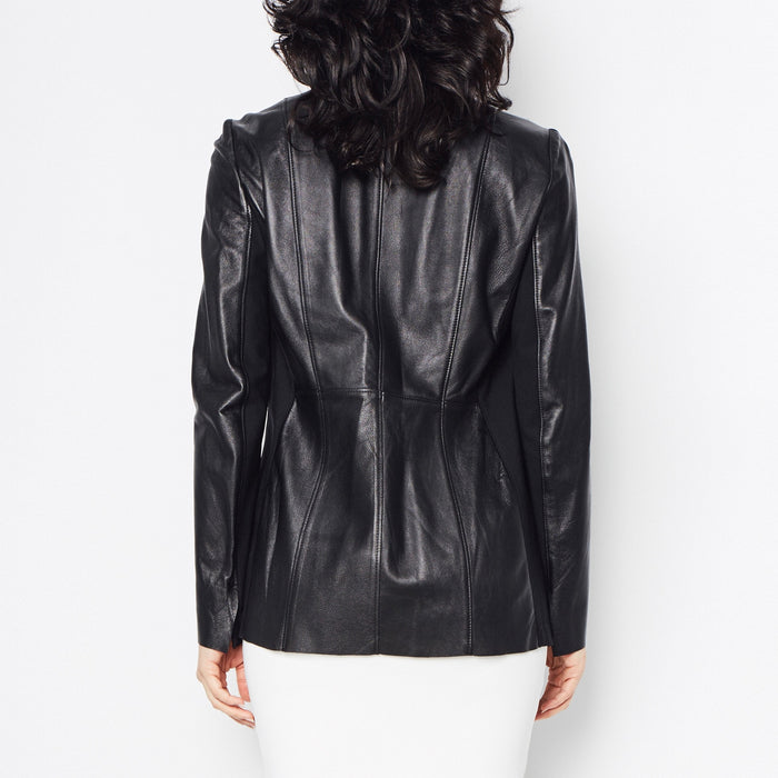 Rufus Leather Jacket with Tech Stretch Side Panel Detail-Jacket-Elaine Kim-Elaine Kim Studio-travel wardrobe-office casual-independent designer