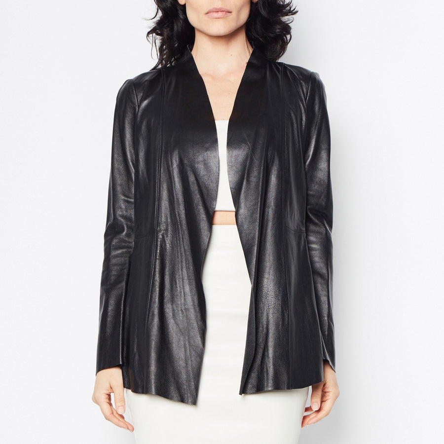 Rufus Leather Jacket with Tech Stretch Side Panel Detail-Jacket-Elaine Kim-Black-Elaine Kim Studio