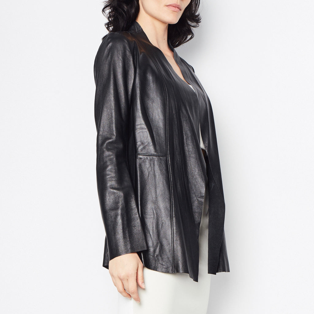 Rufus Leather Jacket with Tech Stretch Side Panel Detail-Jacket-Elaine Kim-Elaine Kim Studio