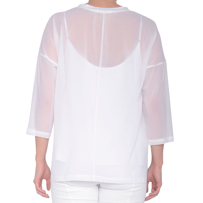 Jersey Top with Chiffon Overlay - SAVANNAH