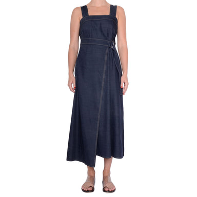 Denim Jumper Dress with Faux Wrap Selah