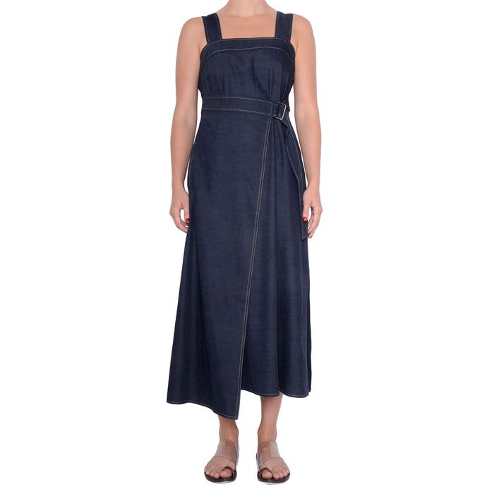Eco-Denim Jumper Dress with Faux Wrap Selah