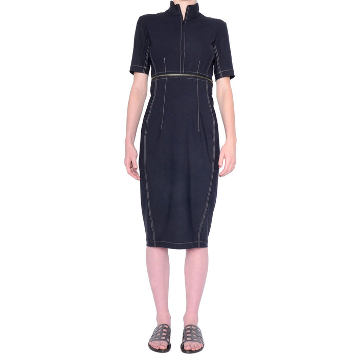 Solange Tech Stretch Zip Off Dress w/ Contrast Stitch - Midnight / P - Midnight / S - Midnight / M - Midnight / L - Midnight / XL