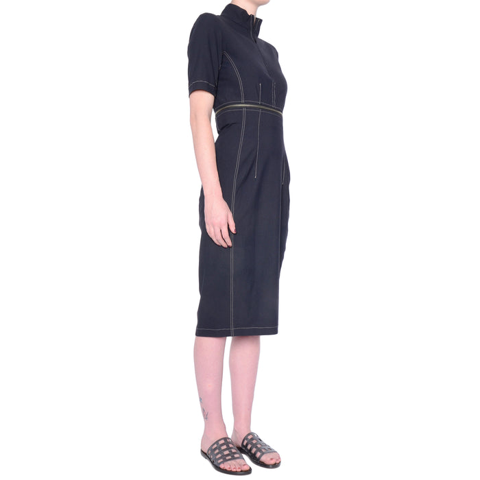 Solange Tech Stretch Zip Off Dress w/ Contrast Stitch