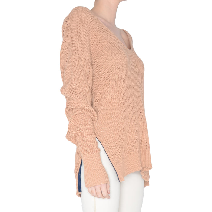 Waffle V Neck Sweater with Side Zip - STEVIE