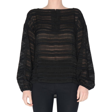 Sheer Stripe Lantern Sleeve Top Seymore