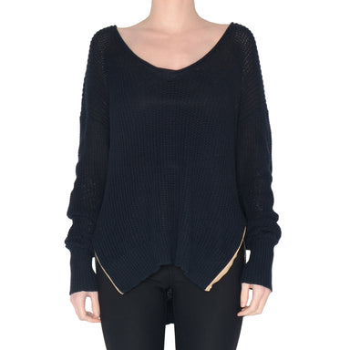 Waffle V Neck Sweater with Side Zip Stevie