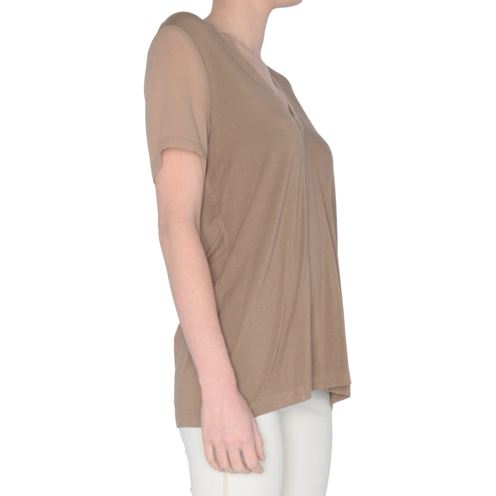 Jersey V Neck Tee with Chiffon Neckline & Sleeve Shawn