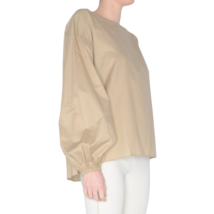 Cotton Voile Lantern Sleeve Top Sycamore